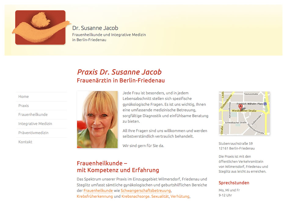Website-Homepage für Frauenärztin Dr. Jacob, Berlin