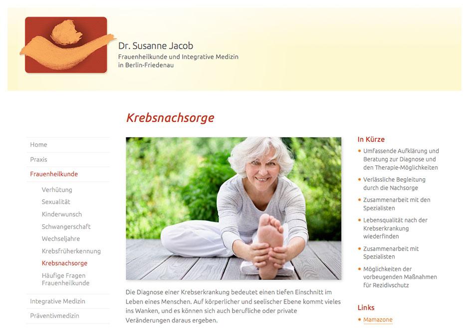 Website Dr. Jacob, Seite Krebsnachsorge