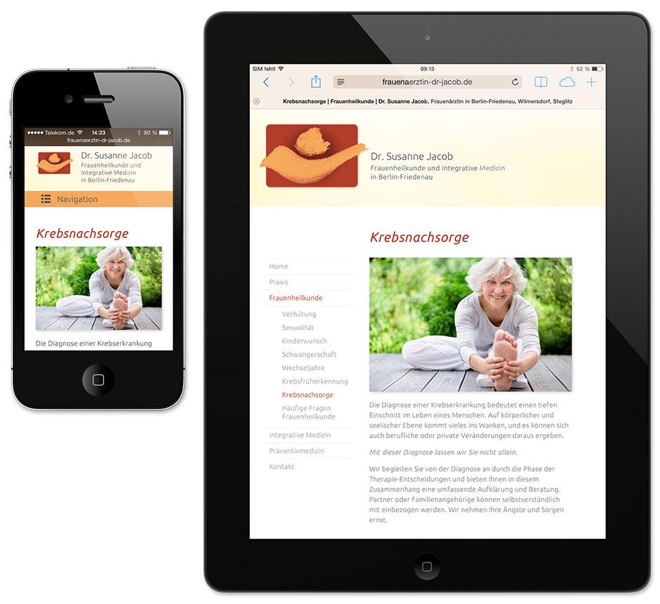 Darstellung auf iPhone und iPad – Website für Frauenärztin Dr. Jacob