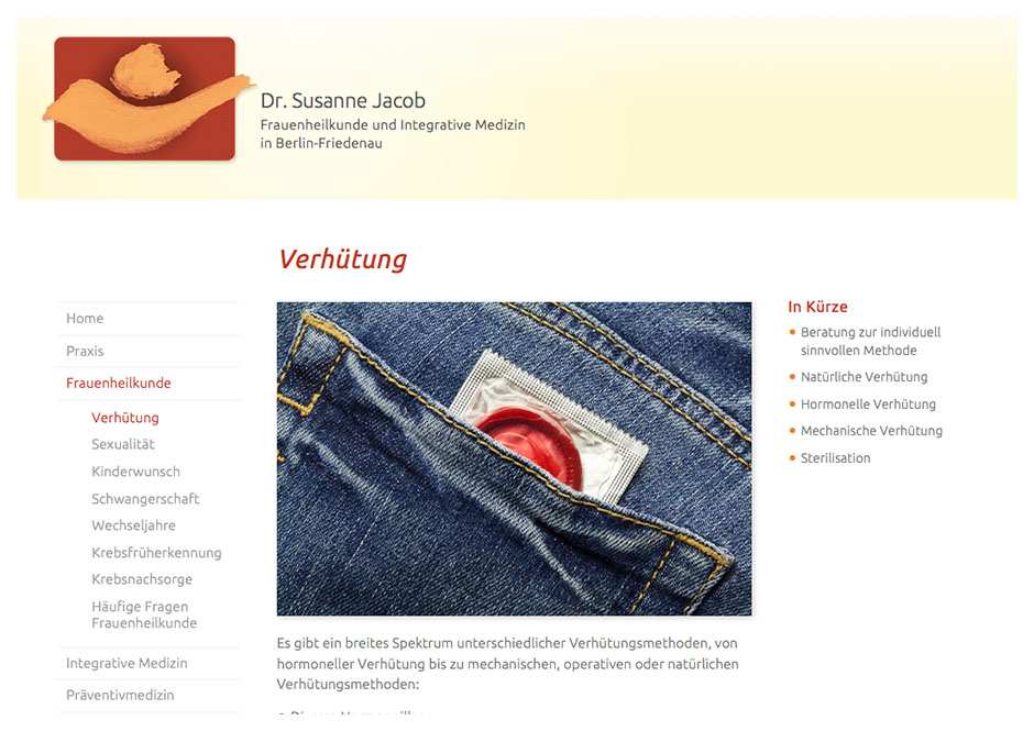 Website Dr. Jacob, Berlin