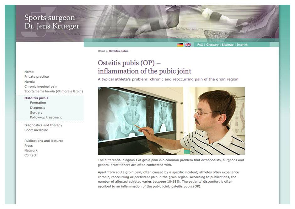 Englische Website für Sportchirurg Dr. Krüger