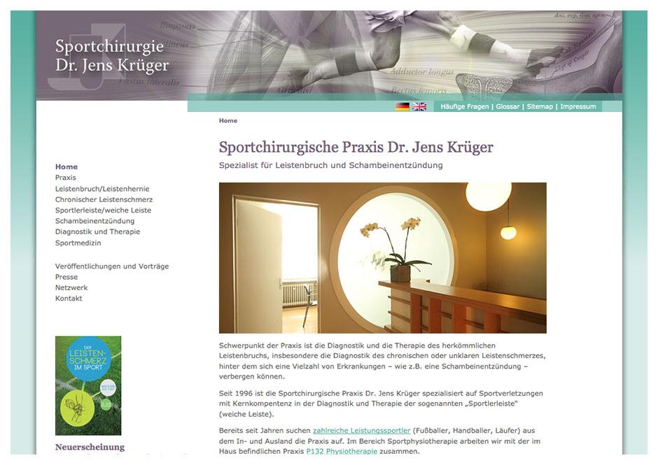 Website-Homepage für Dr. Krüger, Arzt für Sportchirurgie, Berlin