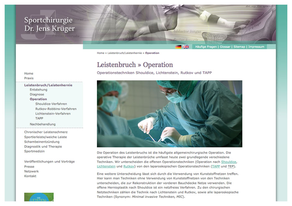 Website für Sportchirurg Dr. Krüger, Berlin, Seite Leistenbruch
