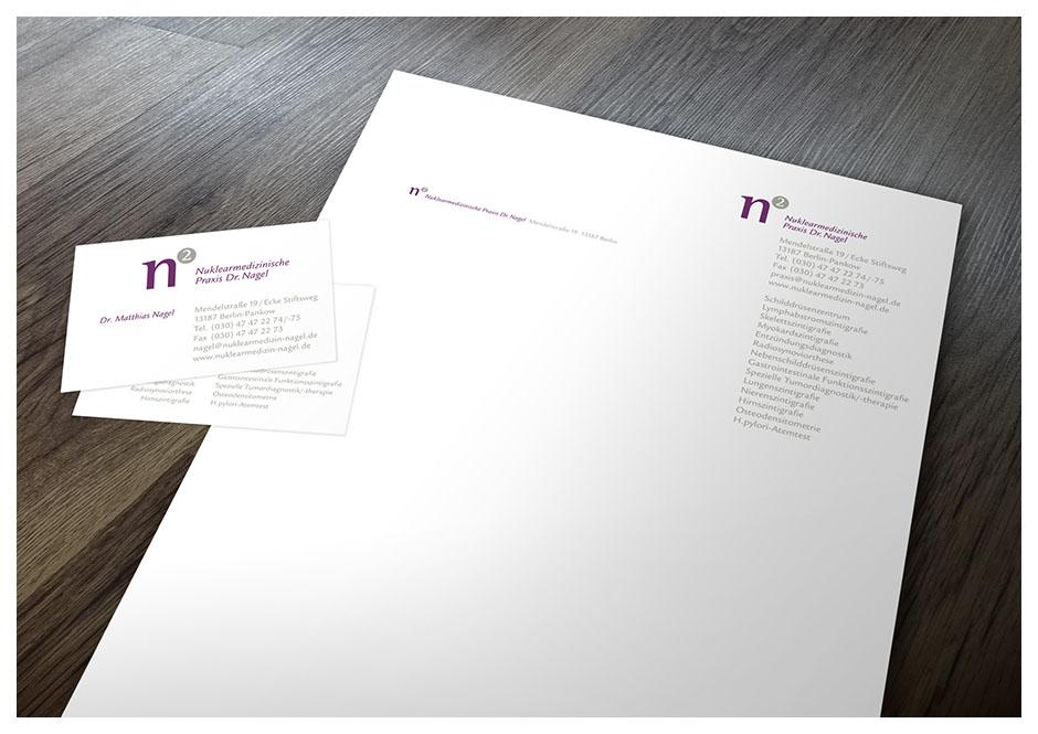Brief und Visitenkarte für Dr. Nagel, Arzt-Praxis für Nuklearmedizin