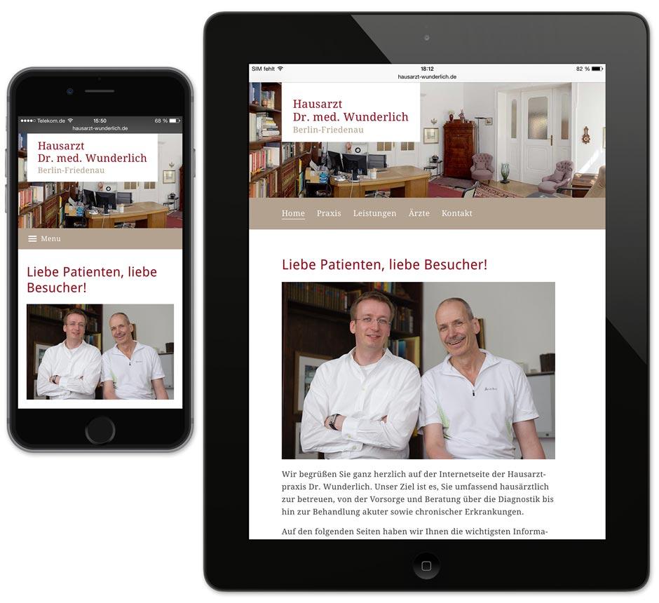 Homepage Hausarzt Wunderlich auf Smartphone und Tablet
