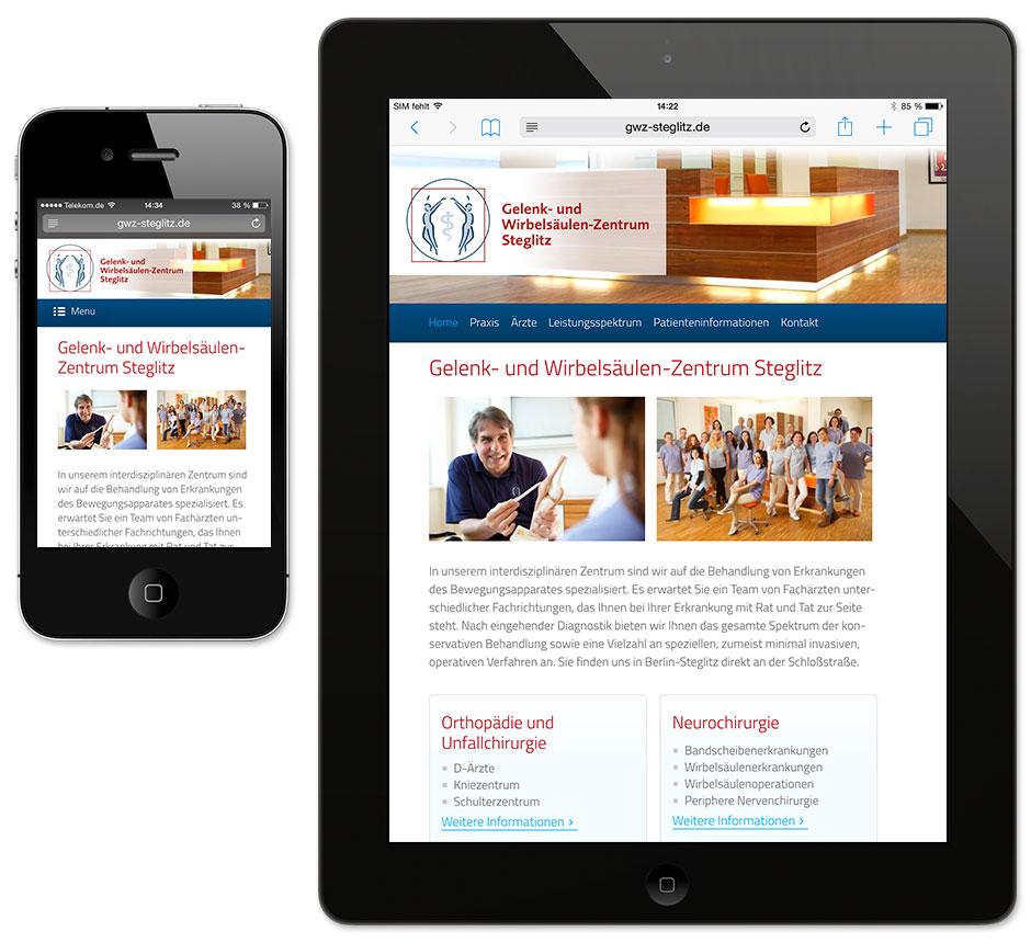 Praxis-Homepage auf Smartphone und Tablet
