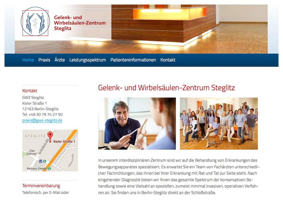 Homepage der Website des Gelenk- und Wirbelsäulen-Zentrum Steglitz GWZ