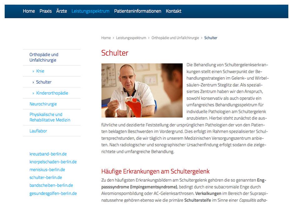 Seite mit Informationen zu Schultererkrankungen
