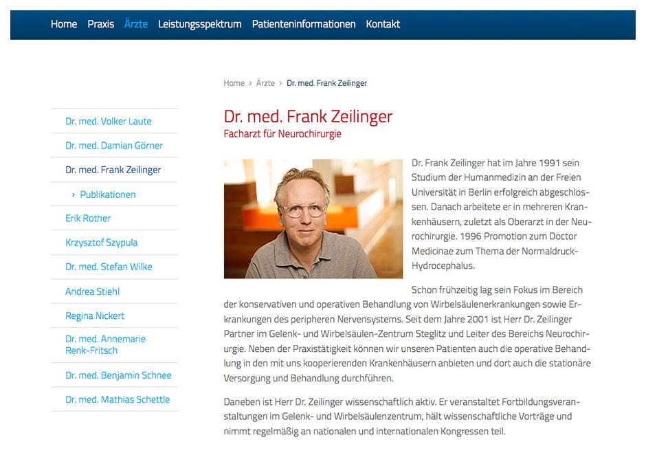 Website GWZ Steglitz: Seite mit Arzt-Informationen