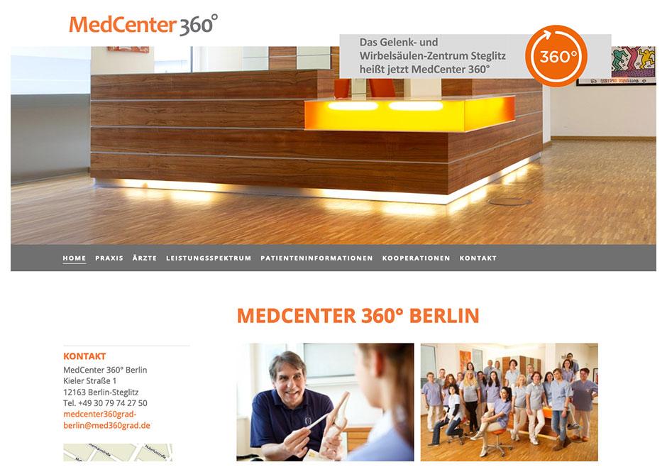 Website des GWZ Steglitz im Design des MedCenter 360°