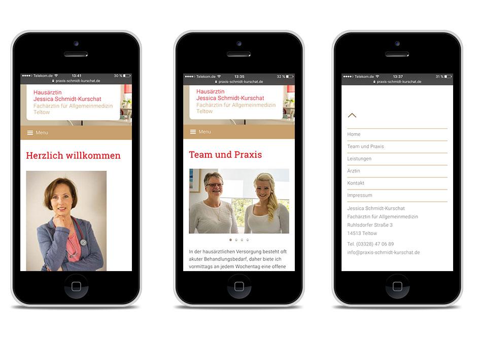 Smartphone-Darstellung Hausarztpraxis Schmidt-Kurschat