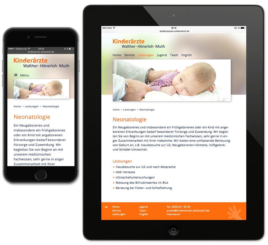 Darstellung auf Smartphone und Tablet – Website Kinderärzte Zehlendorf
