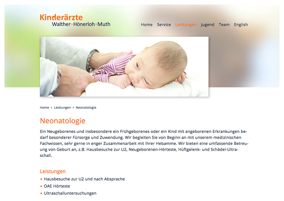 Website / Homepage Kinderärzte Zehlendorf