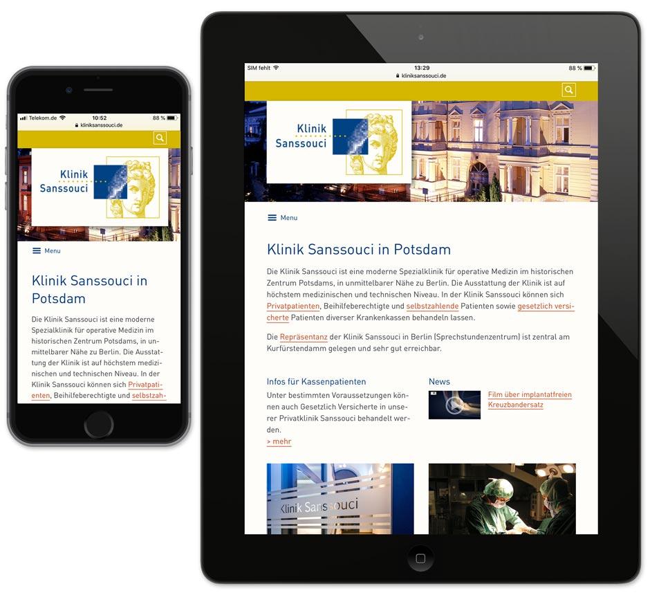 Website Klinik Sanssouci – Darstellung auf Smartphone und Tablet