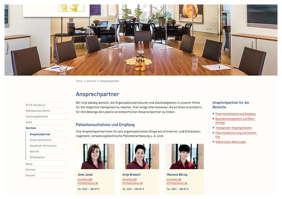Website Klinik Sanssouci: Seite Ansprechpartner