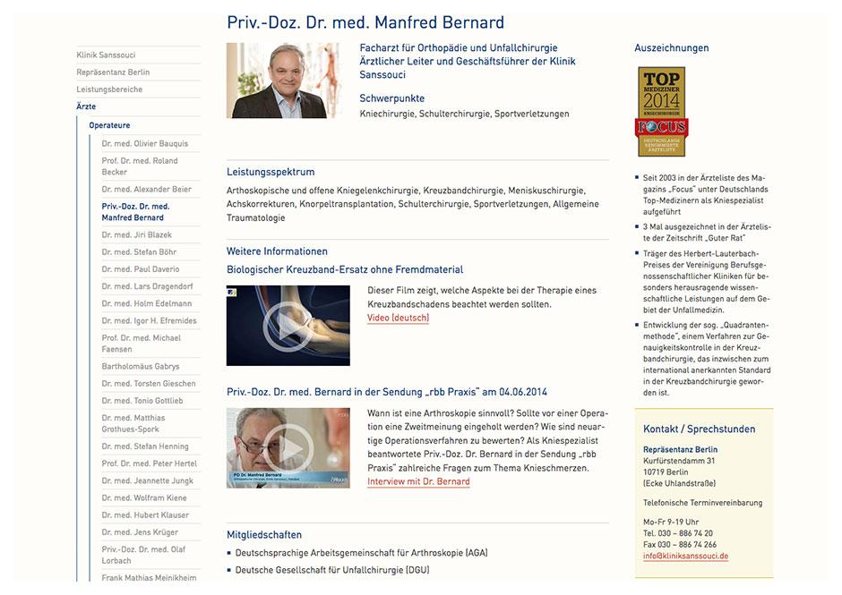 Website Klinik Sanssouci: Arzt-Seite