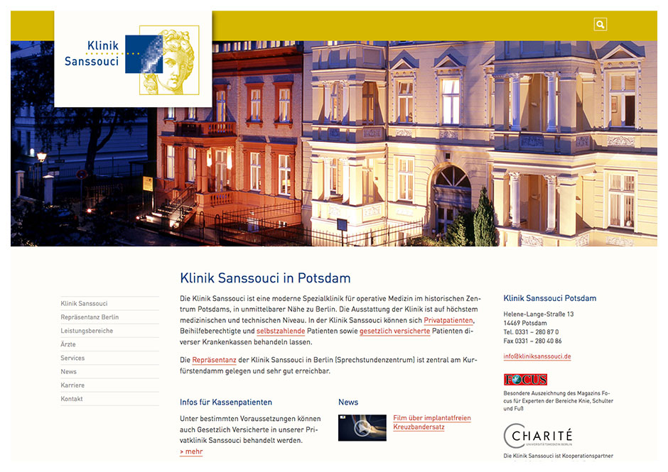 Website Klinik Sanssouci