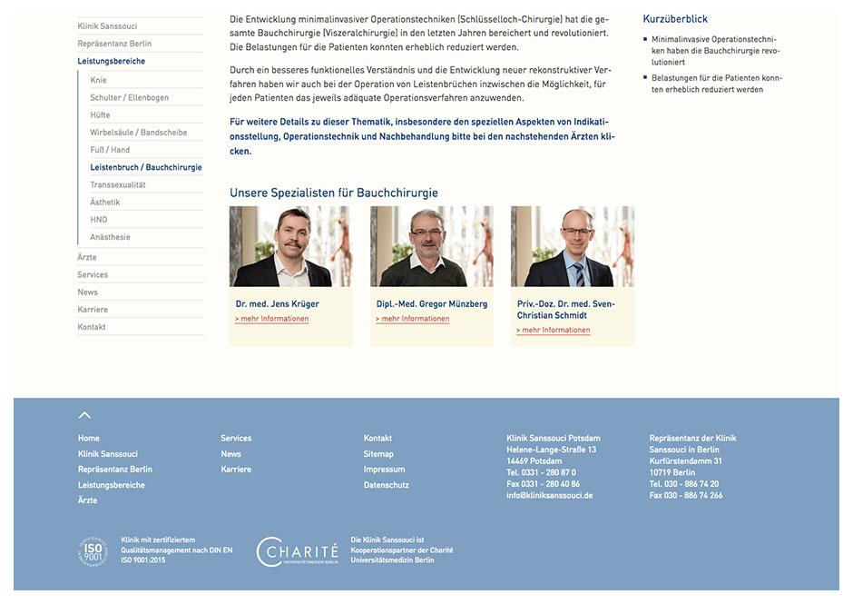 Website Klinik Sanssouci: Seite Spezialisten