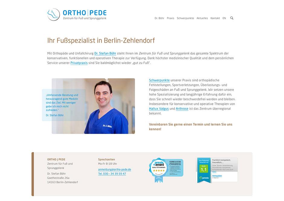 Website Orthopädie-Praxis
