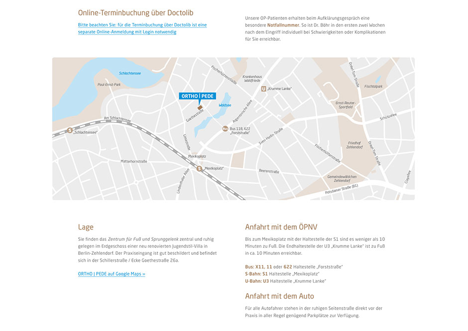Website Orthopädie-Praxis: Individuell gezeichneter Lageplan