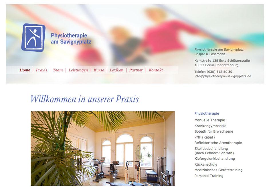 Website-Homepage für Physiotherapie am Savignyplatz in Berlin