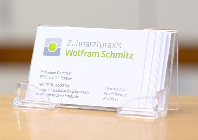 Visitenkarten Zahnarztpraxis Schmitz